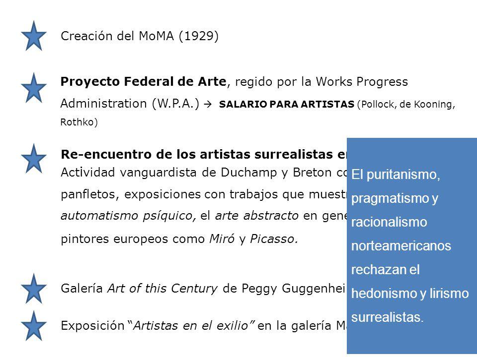 Re-encuentro de los artistas surrealistas en N.Y. Exposición Artistas en el exilio en la galería Matisse ( 1942). Act i vidad vanguardista de Duchamp