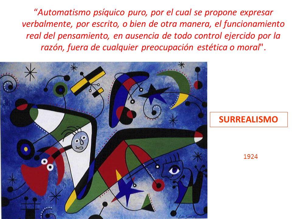 Automatismo psíquico puro, por el cual se propone expresar verbalmente, por escrito, o bien de otra manera, el funcionamiento real del pensamiento, en