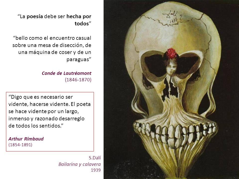 S.Dalí Bailarina y calavera 1939 La poesía debe ser hecha por todos bello como el encuentro casual sobre una mesa de disección, de una máquina de cose