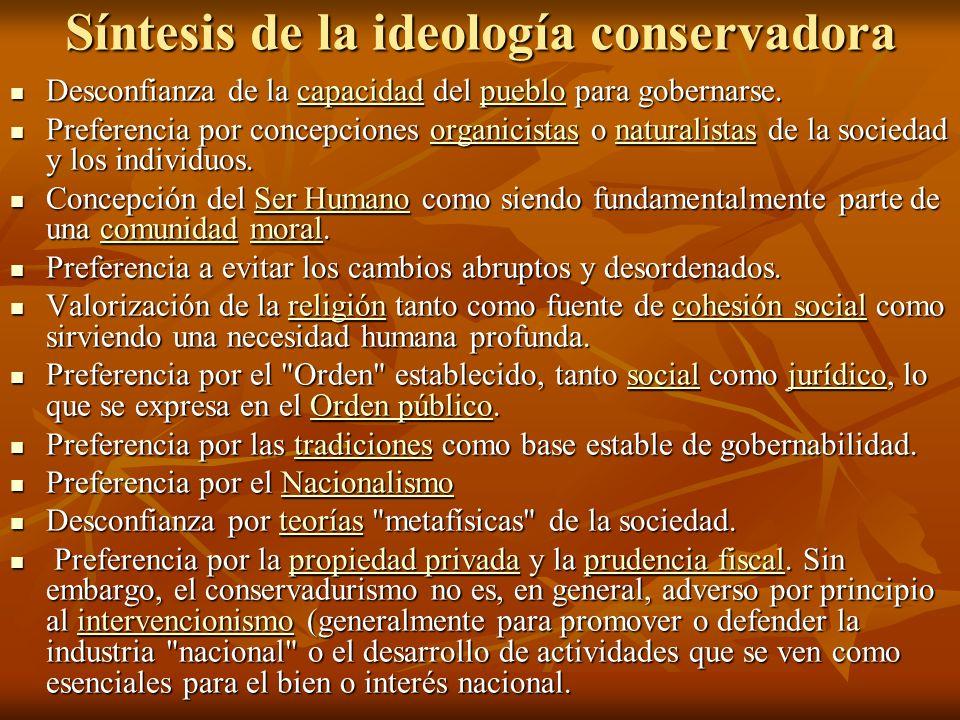 Síntesis de la ideología conservadora Desconfianza de la capacidad del pueblo para gobernarse.