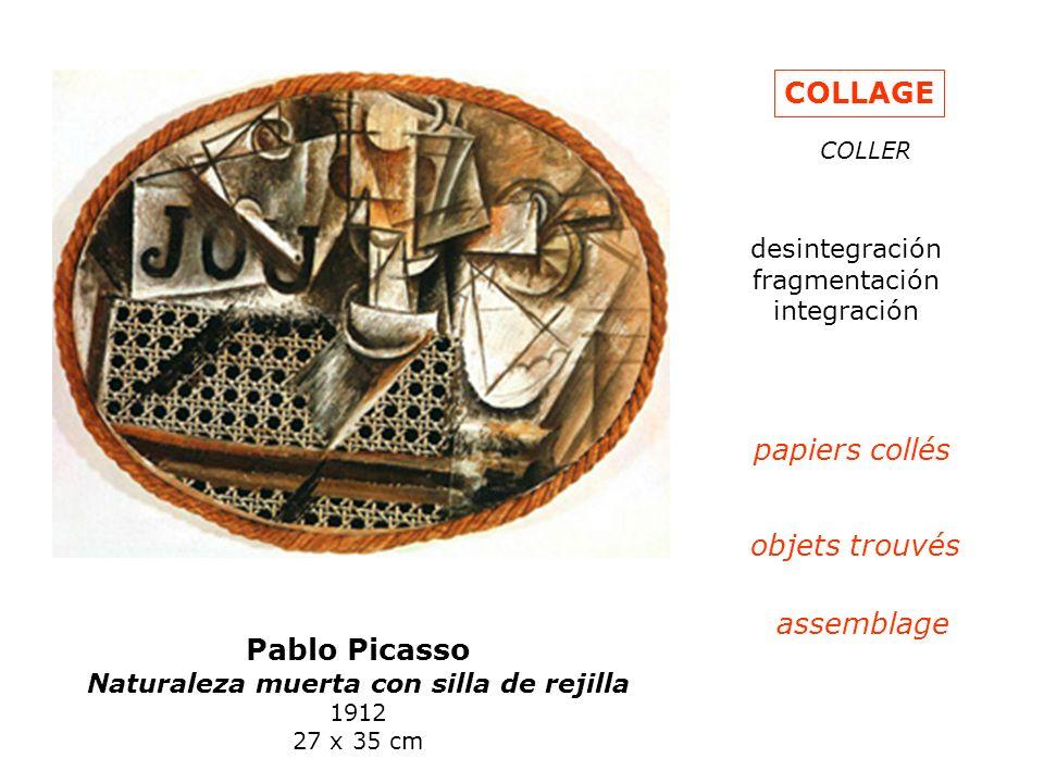 Pablo Picasso Naturaleza muerta con silla de rejilla 1912 27 x 35 cm COLLAGE COLLER desintegración fragmentación integración papiers collés objets tro