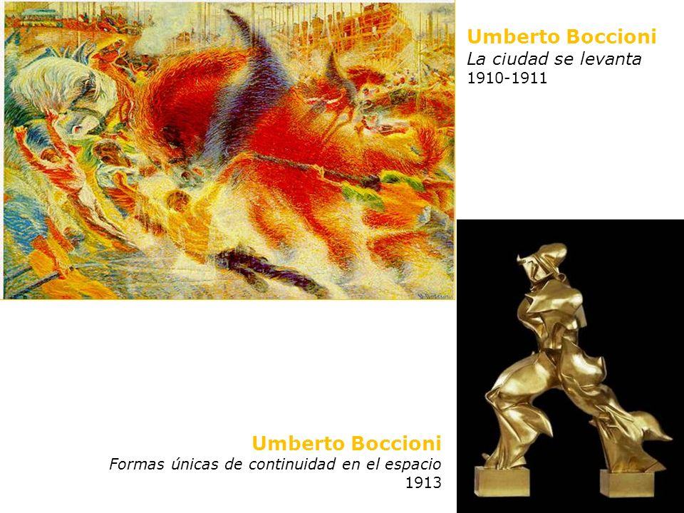 Umberto Boccioni La ciudad se levanta 1910-1911 Umberto Boccioni Formas únicas de continuidad en el espacio 1913