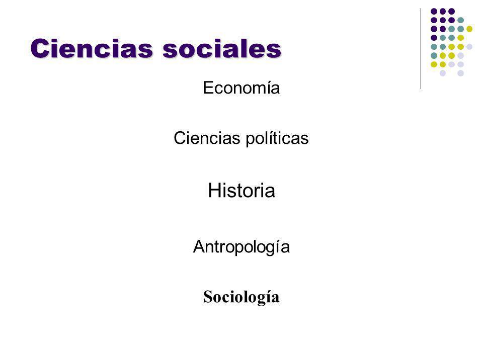 Ciencias sociales Economía Ciencias políticas Historia Antropología Sociología