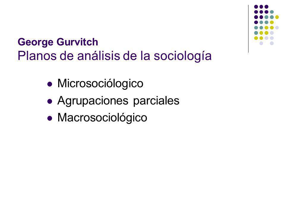 George Gurvitch Planos de análisis de la sociología Microsociólogico Agrupaciones parciales Macrosociológico