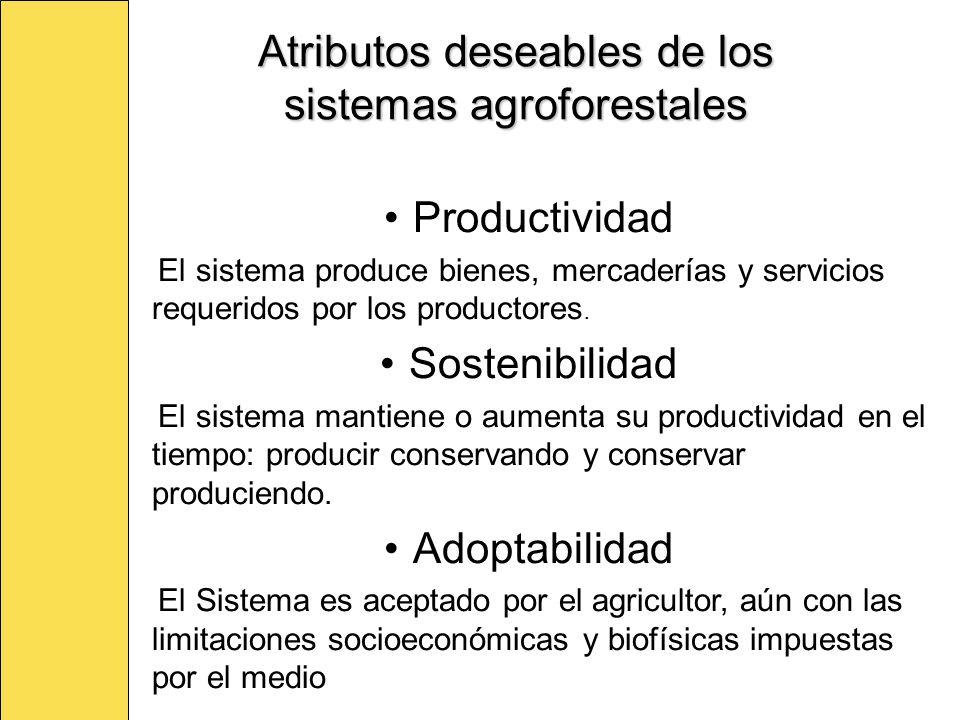 Atributos deseables de los sistemas agroforestales Productividad El sistema produce bienes, mercaderías y servicios requeridos por los productores. So