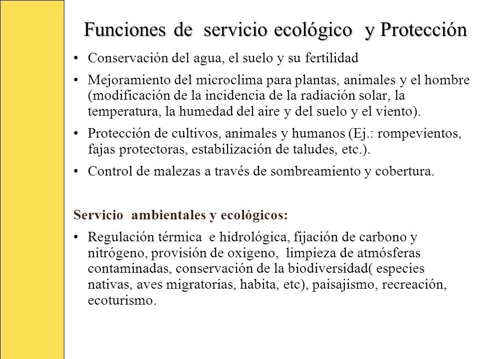 Funciones de servicio ecológico y Protección Conservación del agua, el suelo y su fertilidad Mejoramiento del microclima para plantas, animales y el h