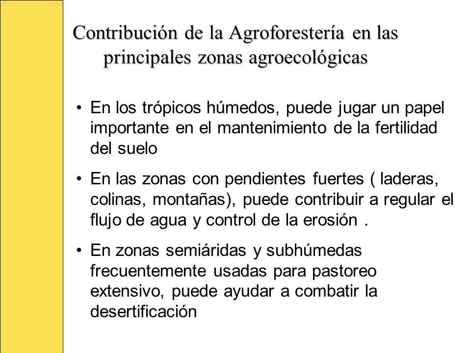 Contribución de la Agroforestería en las principales zonas agroecológicas En los trópicos húmedos, puede jugar un papel importante en el mantenimiento