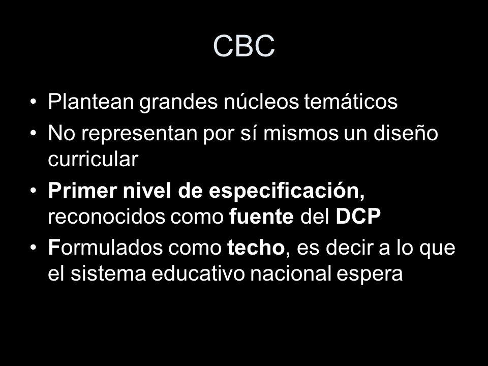 CBC Plantean grandes núcleos temáticos No representan por sí mismos un diseño curricular Primer nivel de especificación, reconocidos como fuente del D