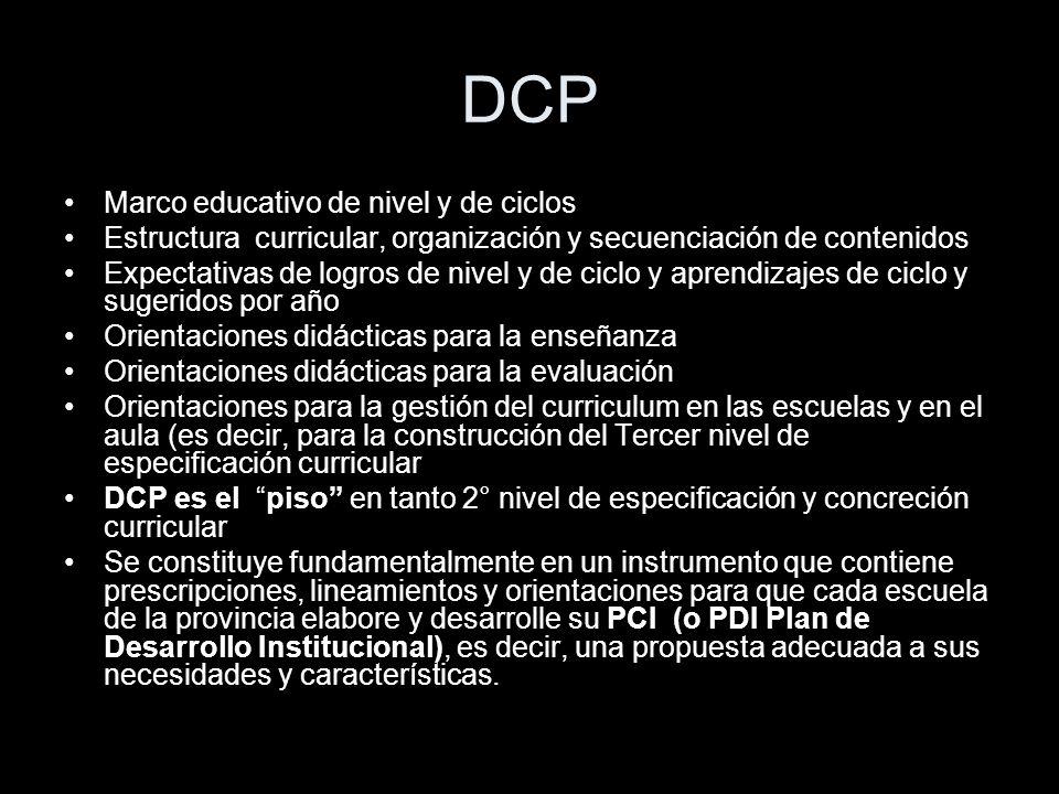 DCP Marco educativo de nivel y de ciclos Estructura curricular, organización y secuenciación de contenidos Expectativas de logros de nivel y de ciclo