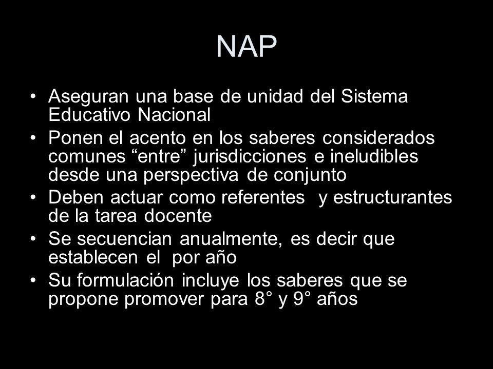 NAP Aseguran una base de unidad del Sistema Educativo Nacional Ponen el acento en los saberes considerados comunes entre jurisdicciones e ineludibles