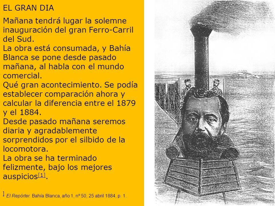 El Mosquito. Buenos Aires, año 21, nº 1107, 27 abril 1884. El pie de imagen dice: Dn. Dardo ha llegado a Bahía Blanca. Este diablo de hombre-rodante e
