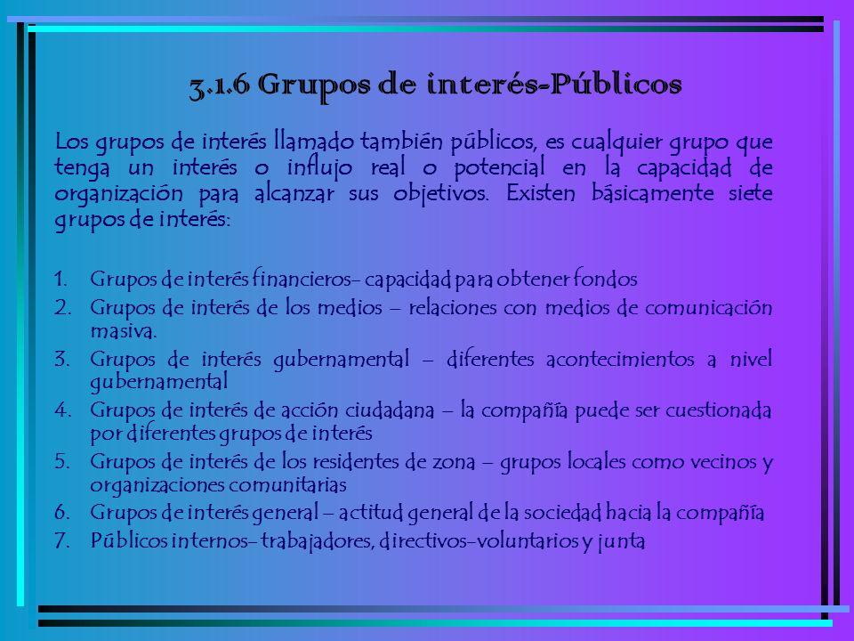 3.1.6 Grupos de interés-Públicos Los grupos de interés llamado también públicos, es cualquier grupo que tenga un interés o influjo real o potencial en