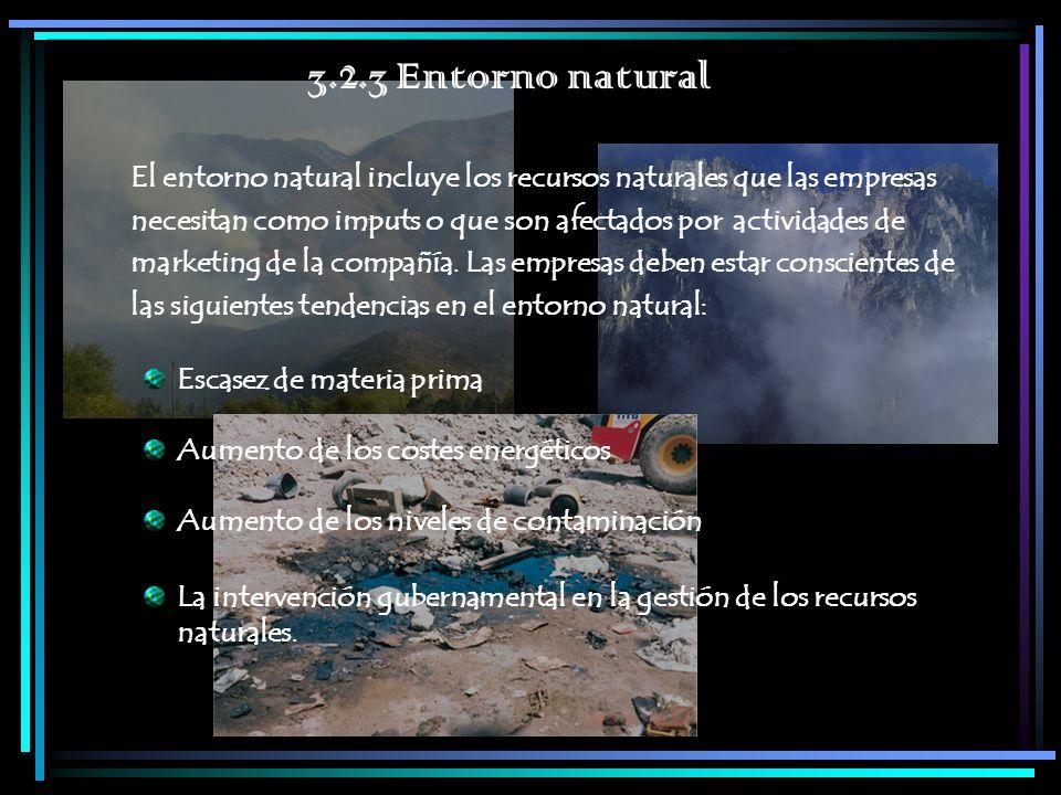 3.2.3 Entorno natural El entorno natural incluye los recursos naturales que las empresas necesitan como imputs o que son afectados por actividades de