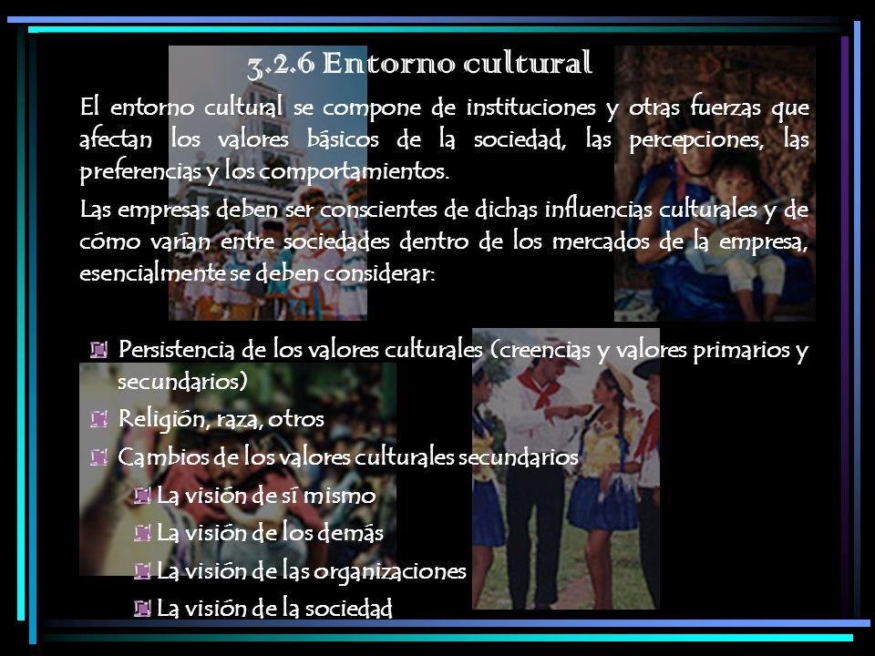 3.2.6 Entorno cultural El entorno cultural se compone de instituciones y otras fuerzas que afectan los valores básicos de la sociedad, las percepcione