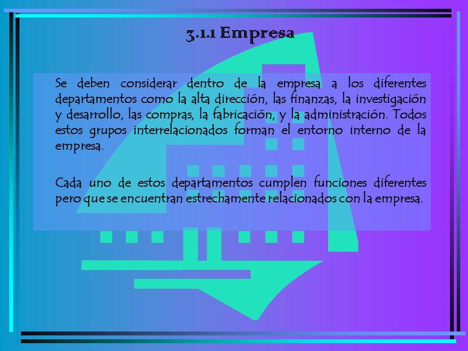 3.1.1 Empresa Se deben considerar dentro de la empresa a los diferentes departamentos como la alta dirección, las finanzas, la investigación y desarro
