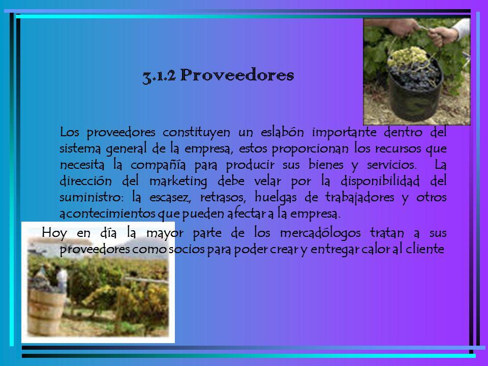 3.1.2 Proveedores Los proveedores constituyen un eslabón importante dentro del sistema general de la empresa, estos proporcionan los recursos que nece