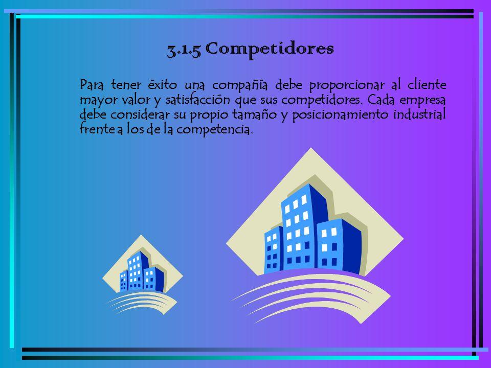 3.1.5 Competidores Para tener éxito una compañía debe proporcionar al cliente mayor valor y satisfacción que sus competidores. Cada empresa debe consi