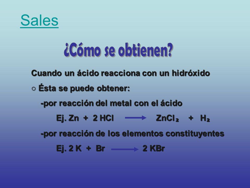 Sales Cuando un ácido reacciona con un hidróxido Ésta se puede obtener: Ésta se puede obtener: -por reacción del metal con el ácido Ej. Zn + 2 HCl ZnC