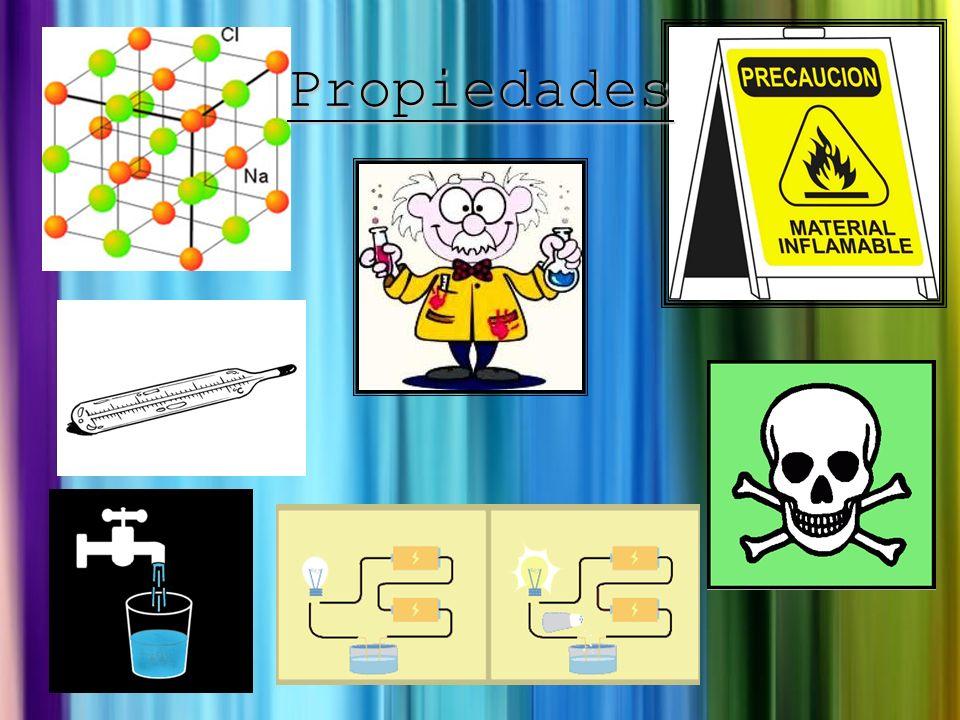 Inflamables Tóxicos Conducir la electricidad Se disuelve en el agua Puntos de ebullición y fusión altos Estructuras cristalinas Propiedades