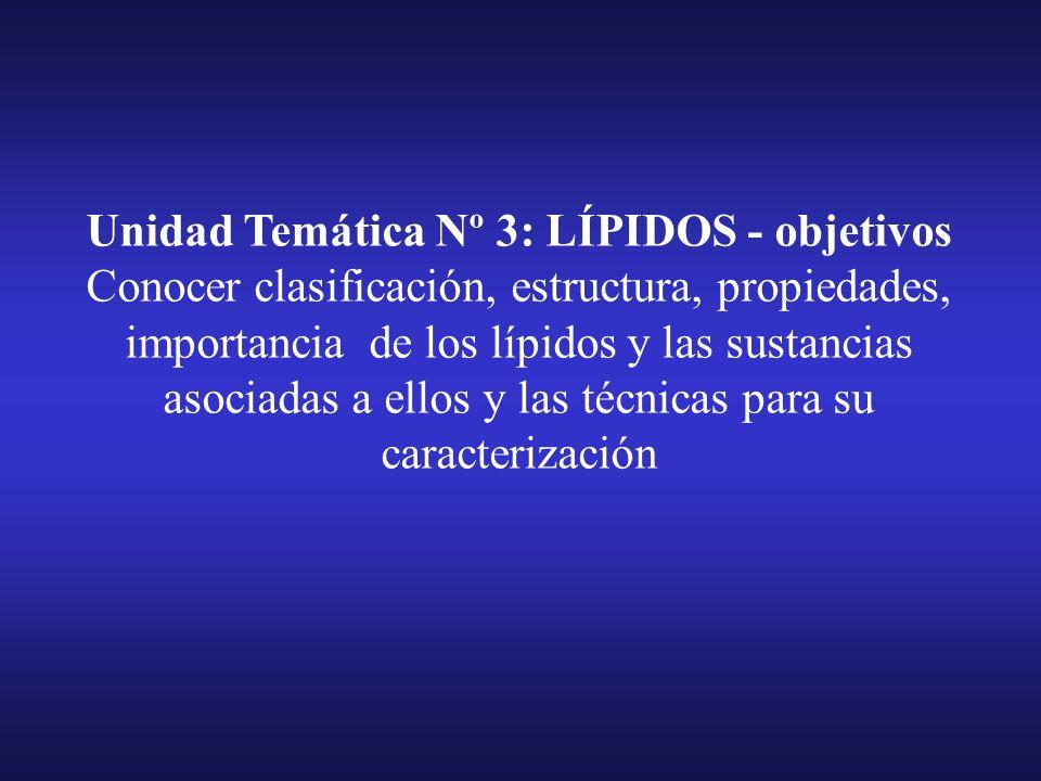 Unidad Temática Nº 3 LIPIDOS a)Definición. Propiedades. Clasificación. Alcoholes grasos. Acidos grasos Sat. y NO-Sat. Formación de sales o jabones. Lí