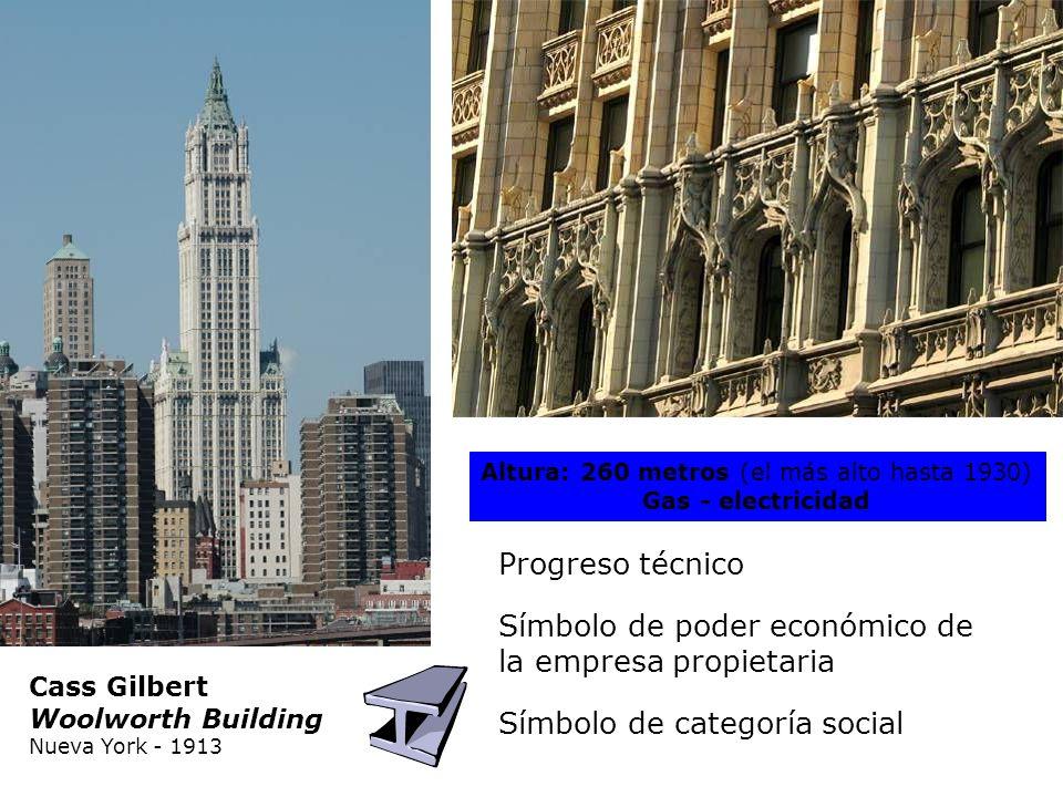 Cass Gilbert Woolworth Building Nueva York - 1913 Altura: 260 metros (el más alto hasta 1930) Gas - electricidad Progreso técnico Símbolo de categoría