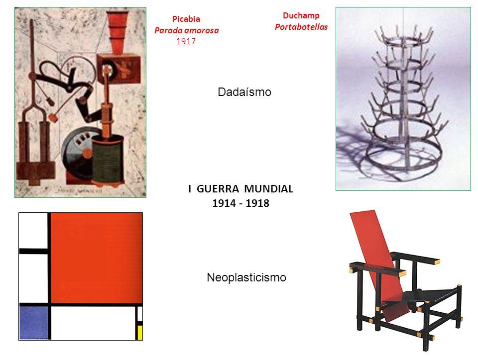 Picabia Parada amorosa 1917 Duchamp Portabotellas I GUERRA MUNDIAL 1914 - 1918 Dadaísmo Neoplasticismo