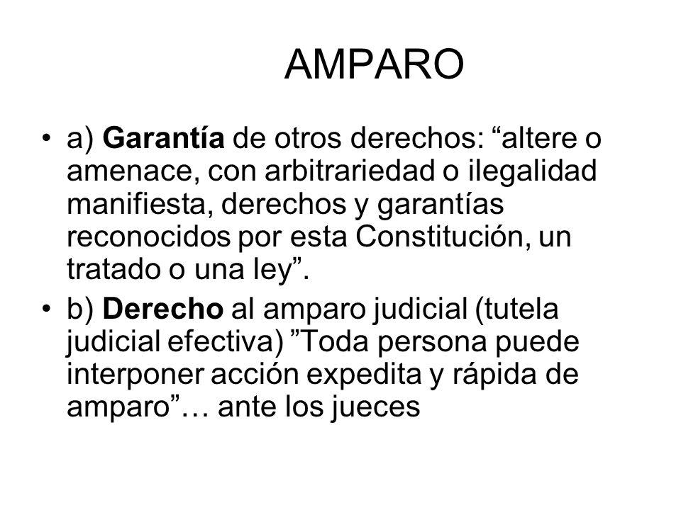AMPARO a) Garantía de otros derechos: altere o amenace, con arbitrariedad o ilegalidad manifiesta, derechos y garantías reconocidos por esta Constituc