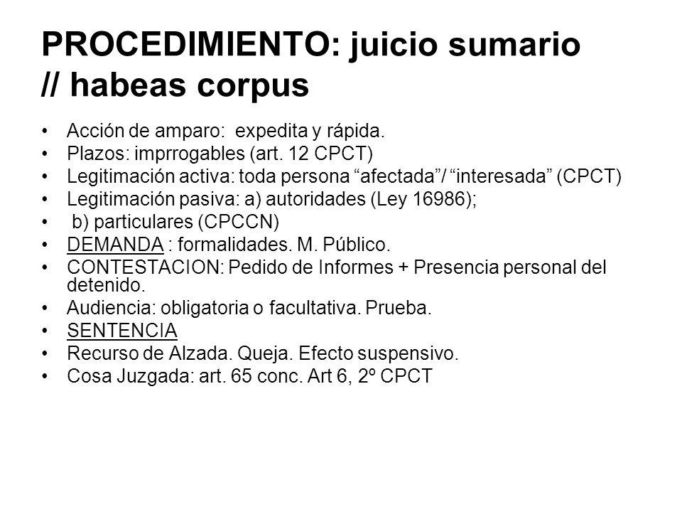 PROCEDIMIENTO: juicio sumario // habeas corpus Acción de amparo: expedita y rápida. Plazos: imprrogables (art. 12 CPCT) Legitimación activa: toda pers