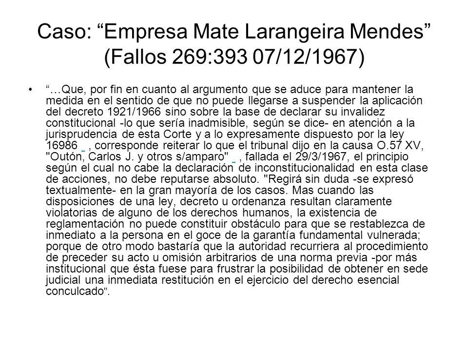 Caso: Empresa Mate Larangeira Mendes (Fallos 269:393 07/12/1967) …Que, por fin en cuanto al argumento que se aduce para mantener la medida en el senti