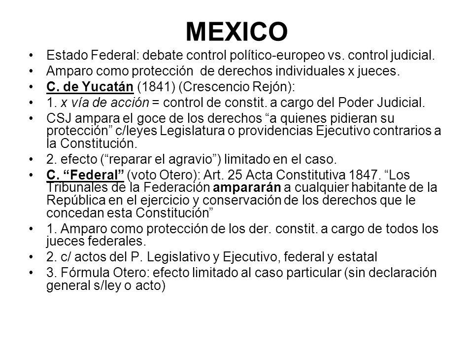 MEXICO Estado Federal: debate control político-europeo vs. control judicial. Amparo como protección de derechos individuales x jueces. C. de Yucatán (
