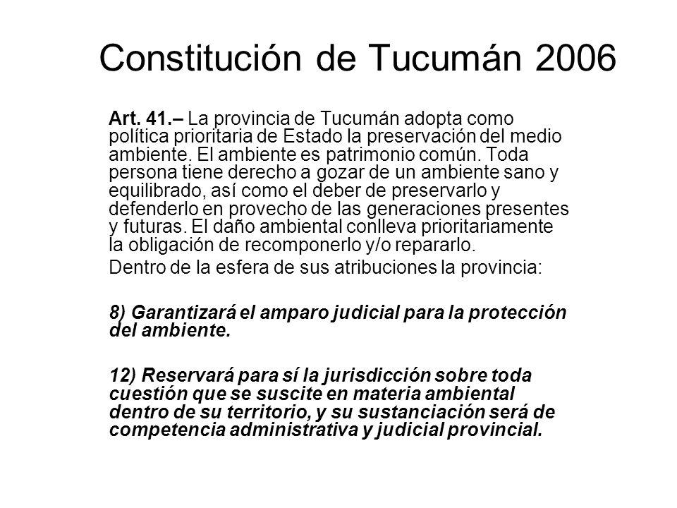 Constitución de Tucumán 2006 Art. 41.– La provincia de Tucumán adopta como política prioritaria de Estado la preservación del medio ambiente. El ambie