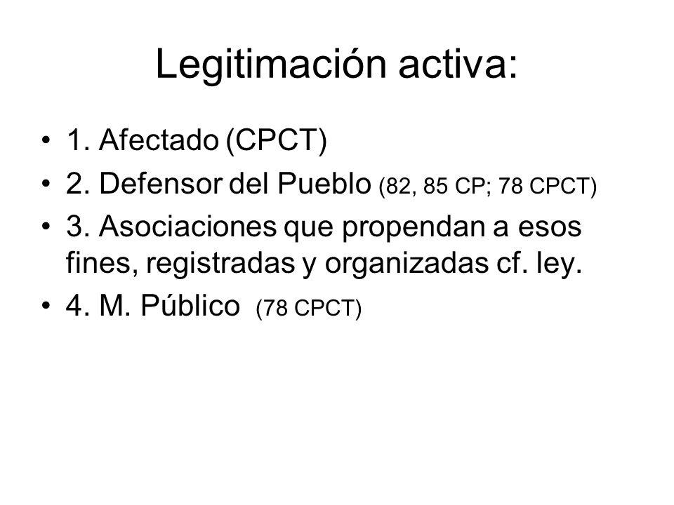 Legitimación activa: 1. Afectado (CPCT) 2. Defensor del Pueblo (82, 85 CP; 78 CPCT) 3. Asociaciones que propendan a esos fines, registradas y organiza