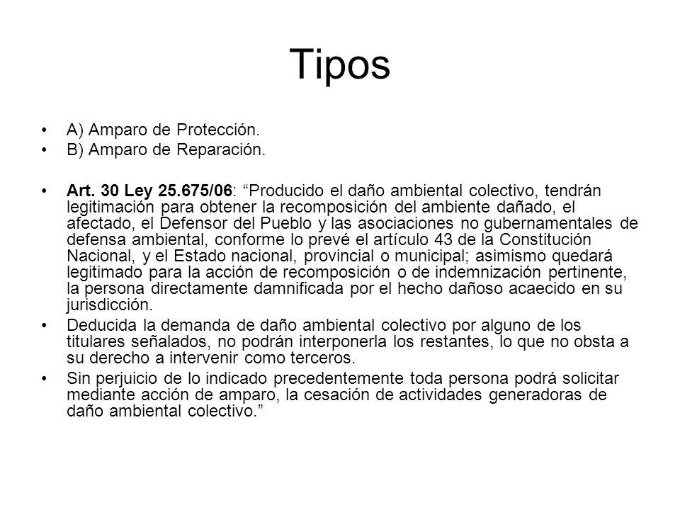 Tipos A) Amparo de Protección. B) Amparo de Reparación. Art. 30 Ley 25.675/06: Producido el daño ambiental colectivo, tendrán legitimación para obtene