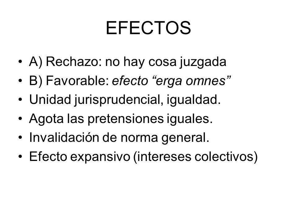 EFECTOS A) Rechazo: no hay cosa juzgada B) Favorable: efecto erga omnes Unidad jurisprudencial, igualdad. Agota las pretensiones iguales. Invalidación