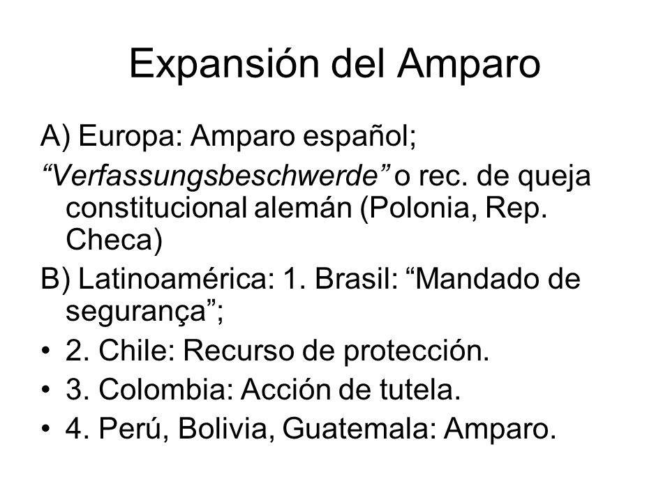 Expansión del Amparo A) Europa: Amparo español; Verfassungsbeschwerde o rec. de queja constitucional alemán (Polonia, Rep. Checa) B) Latinoamérica: 1.