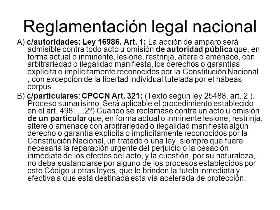 Reglamentación legal nacional A) c/autoridades: Ley 16986. Art. 1: La acción de amparo será admisible contra todo acto u omisión de autoridad pública