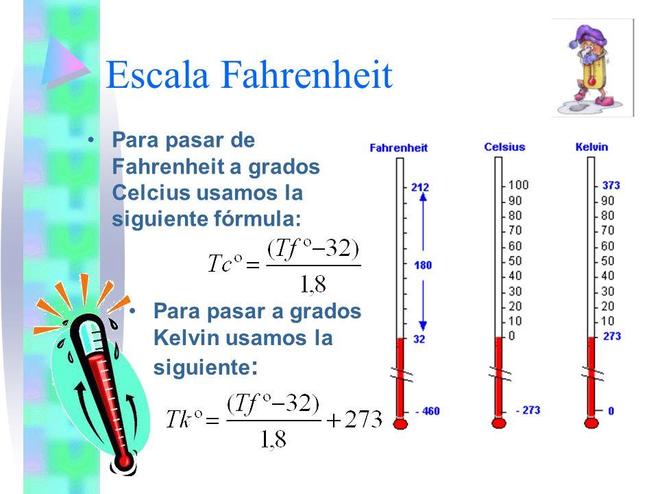 ESCALAS TERMOMETRICAS La escala Celsius toma como cero la temperatura del punto de fusión del hielo, por lo tanto para el hielo indica una temperatura de 0 ºC.