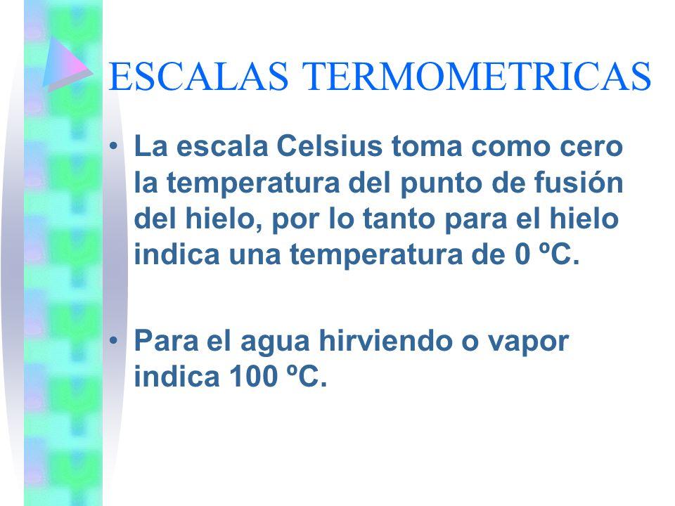 ESCALAS TERMOMETRICAS La escala Celsius toma como cero la temperatura del punto de fusión del hielo, por lo tanto para el hielo indica una temperatura