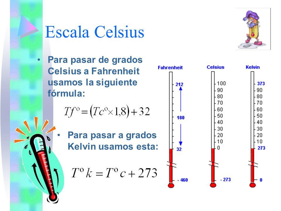 Escala Celsius Para pasar de grados Celsius a Fahrenheit usamos la siguiente fórmula: Para pasar a grados Kelvin usamos esta: