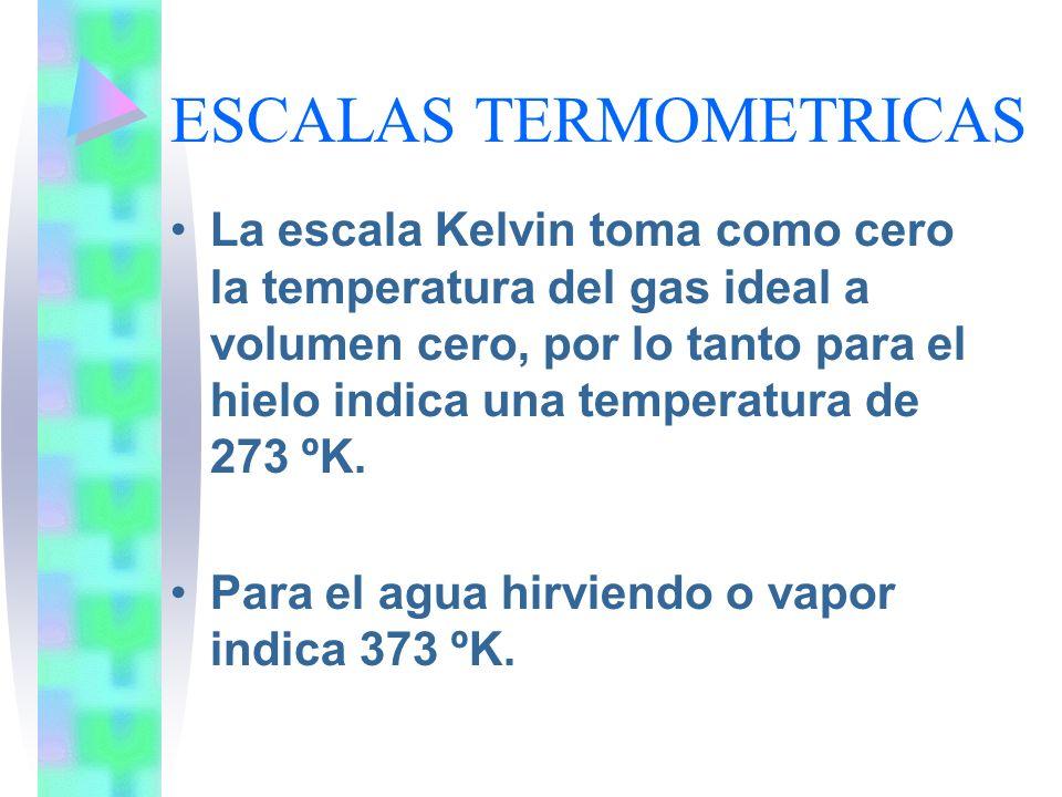 ESCALAS TERMOMETRICAS La escala Kelvin toma como cero la temperatura del gas ideal a volumen cero, por lo tanto para el hielo indica una temperatura d