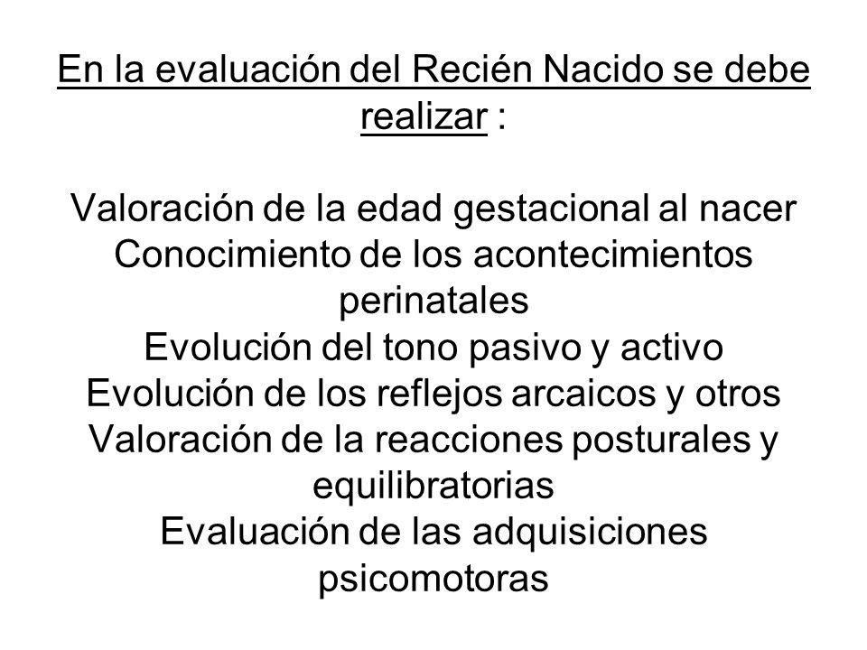 En la evaluación del Recién Nacido se debe realizar : Valoración de la edad gestacional al nacer Conocimiento de los acontecimientos perinatales Evolu