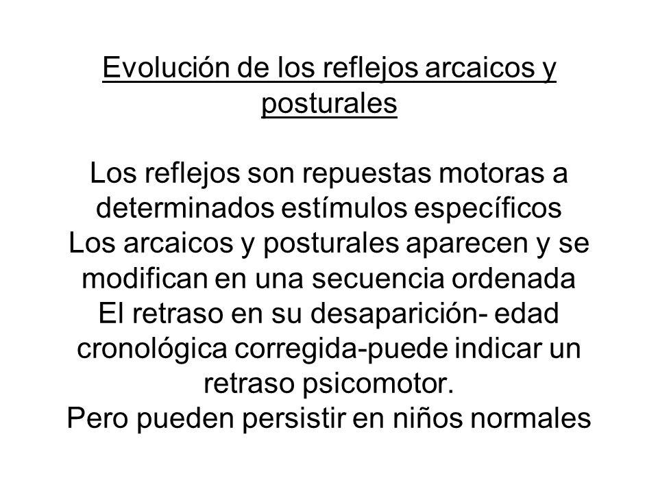 Evolución de los reflejos arcaicos y posturales Los reflejos son repuestas motoras a determinados estímulos específicos Los arcaicos y posturales apar