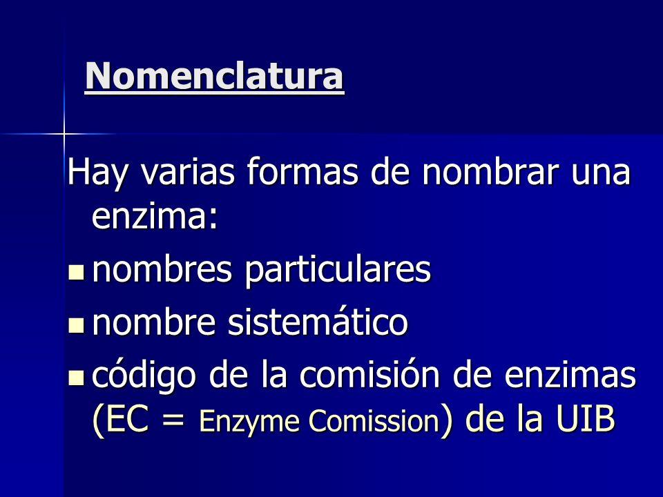 Nomenclatura Hay varias formas de nombrar una enzima: nombres particulares nombres particulares nombre sistemático nombre sistemático código de la com