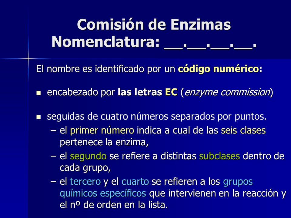 Comisión de Enzimas Nomenclatura: __.__.__.__. El nombre es identificado por un código numérico: encabezado por las letras EC (enzyme commission) enca