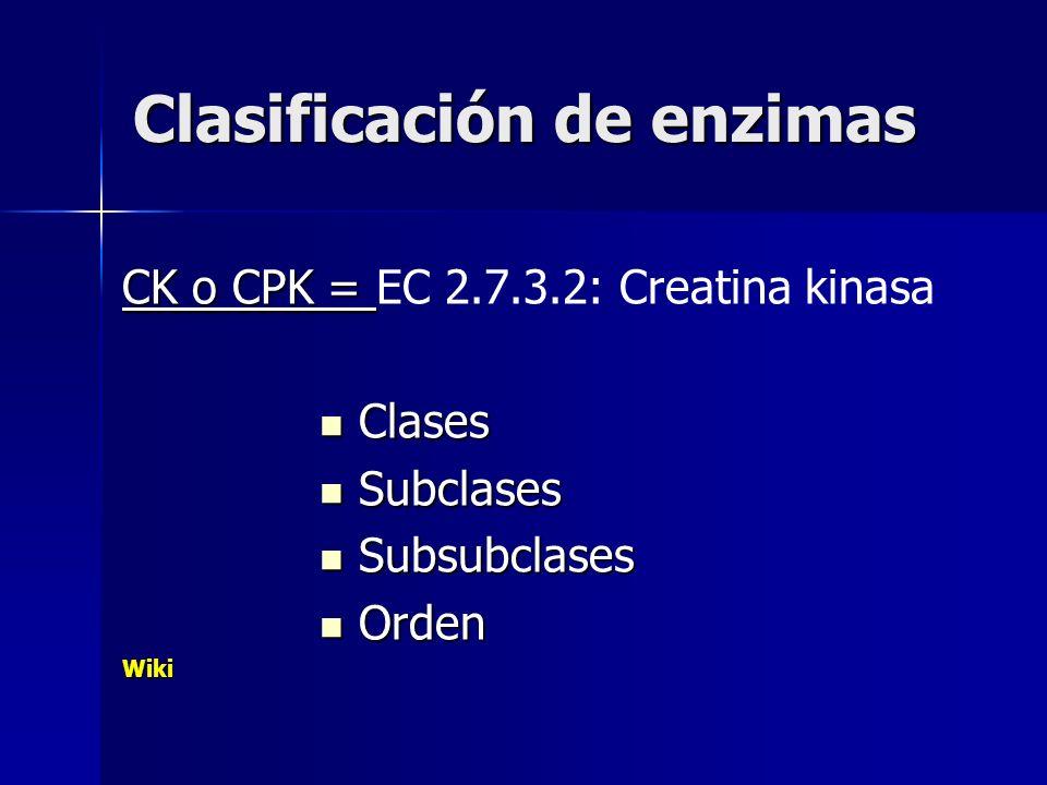 Clasificación de enzimas CK o CPK = CK o CPK = EC 2.7.3.2: Creatina kinasa Clases Clases Subclases Subclases Subsubclases Subsubclases Orden OrdenWiki