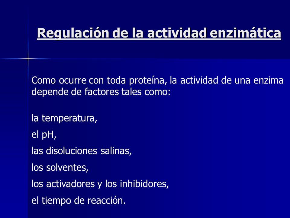 Regulación de la actividad enzimática Como ocurre con toda proteína, la actividad de una enzima depende de factores tales como: la temperatura, el pH,