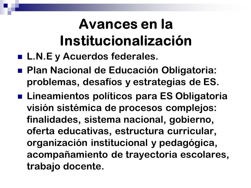 Avances en la Institucionalización L.N.E y Acuerdos federales. Plan Nacional de Educación Obligatoria: problemas, desafíos y estrategias de ES. Lineam