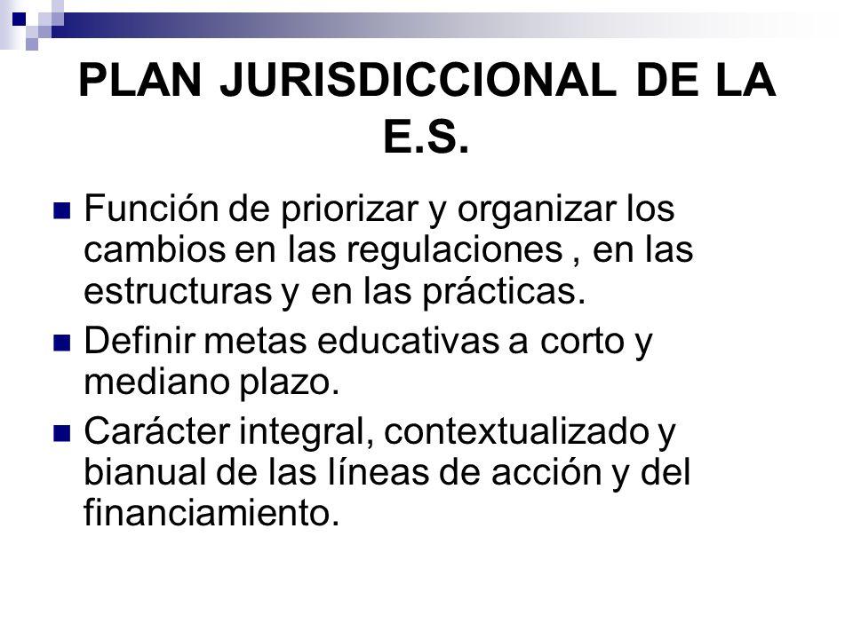 PLAN JURISDICCIONAL DE LA E.S. Función de priorizar y organizar los cambios en las regulaciones, en las estructuras y en las prácticas. Definir metas