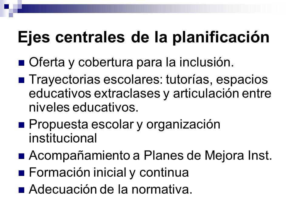 Ejes centrales de la planificación Oferta y cobertura para la inclusión. Trayectorias escolares: tutorías, espacios educativos extraclases y articulac