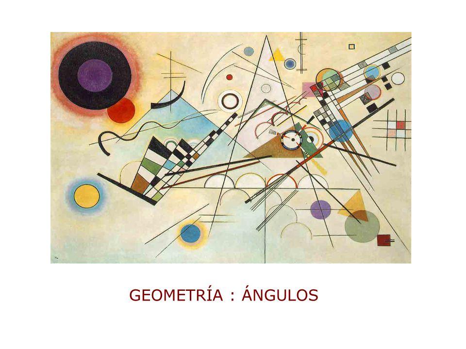 ÁNGULO: es la figura formada por 2 semirrectas que se unen en un punto llamado vértice CLASIFICACIÓN DE ÄNGULOS A B O 1 – Según su medida Agudo: AÔB 90º A BB B B B OO O O O A A A A Obtuso: AÔB 90ºRecto: AÔB = 90º LLano: AÔB = 180º Completo: AÔB = 360º AÔB